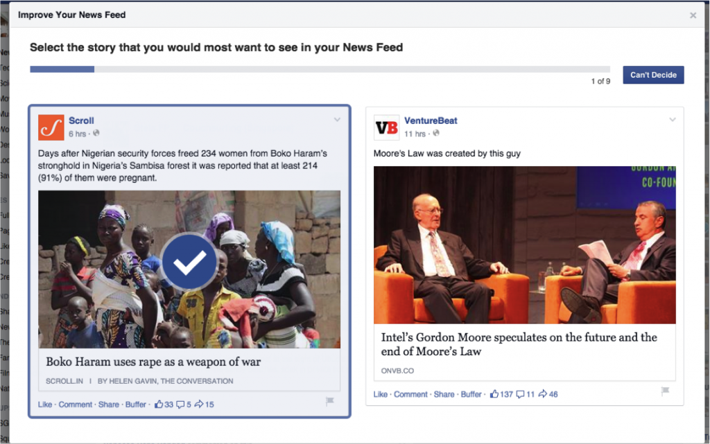 facebook news feed survey1