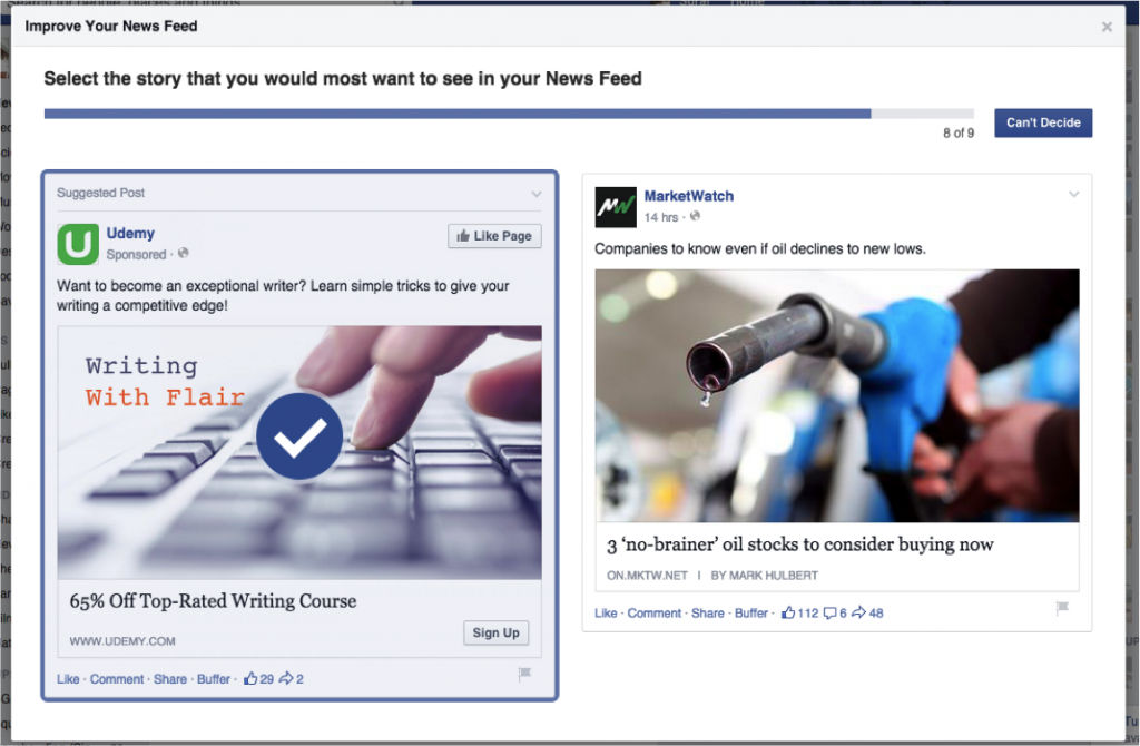 facebook news feed survey2