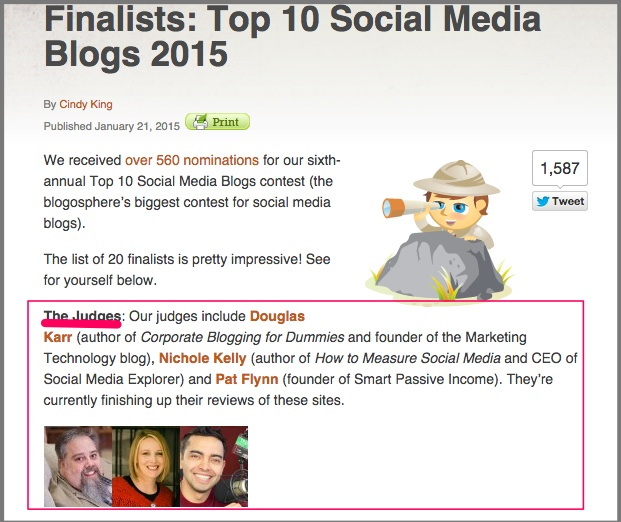 Finalists- Top 10 Social Media Blogs 2015 Social Media Examiner
